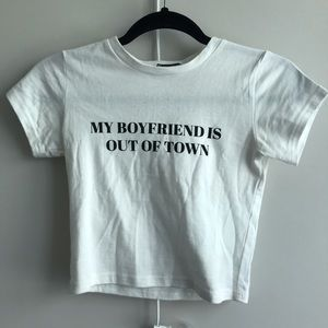 Dollskill my boyfriend is out of town baby tee